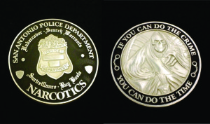 Police coin_SAPD_Narcotics_front and back