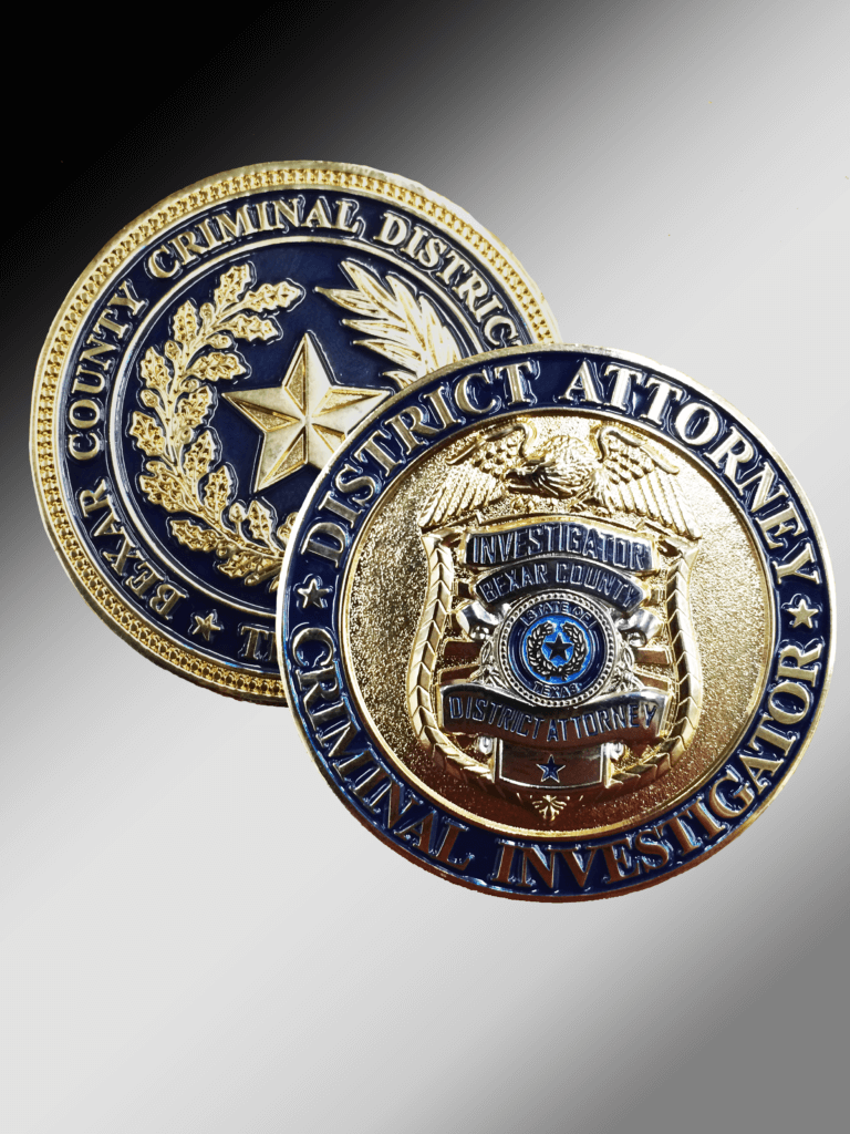 3-d relief badge on custom challenge coin