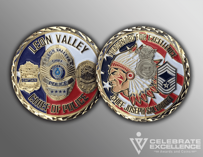 Leon Valley PD Law Enforcement Challenge Coin with badge