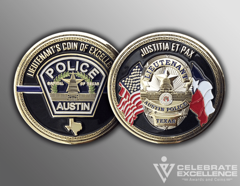 Austin PD Law Enforcement Challenge Coin with badge
